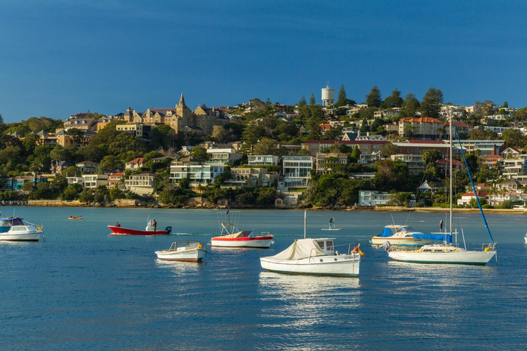 Rose Bay in Sydney's Eastern Suburbs in New South Wales, Australia, with Vaucluse seen in the background.