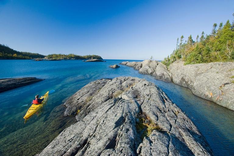 kayaking,  Pukaskwa National Park, Lake Superior, Ontario, Canada