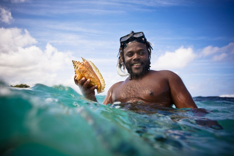 A Man Holds A Large Conch Shell In The Ocean; Runaway Bay Jamaica
