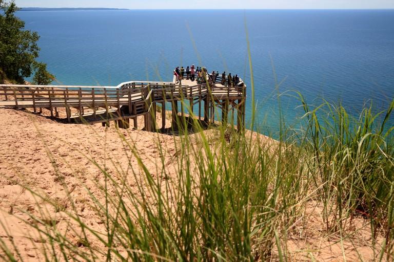 The overlook, 450 feet above Lake Michigan at Sleeping Bear Dunes National Lakeshore, Lake Michigan, USA