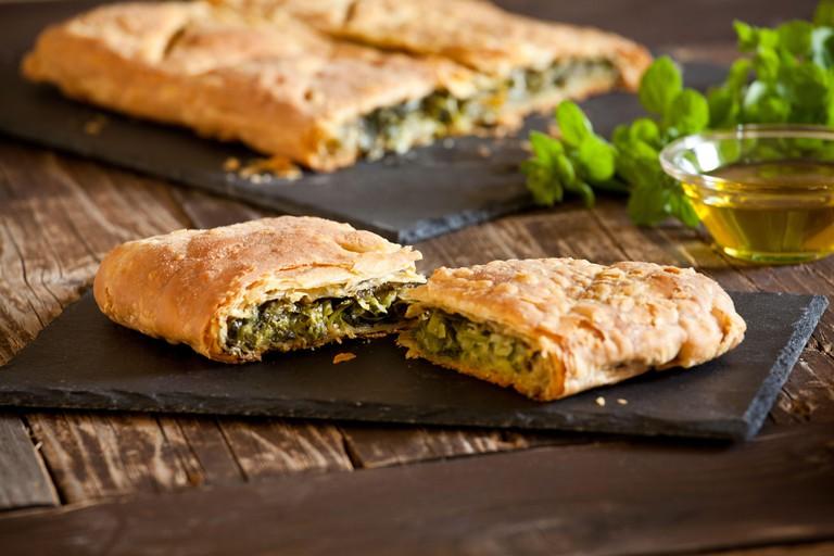 Homemade greek spanakopita pie with organic spinach