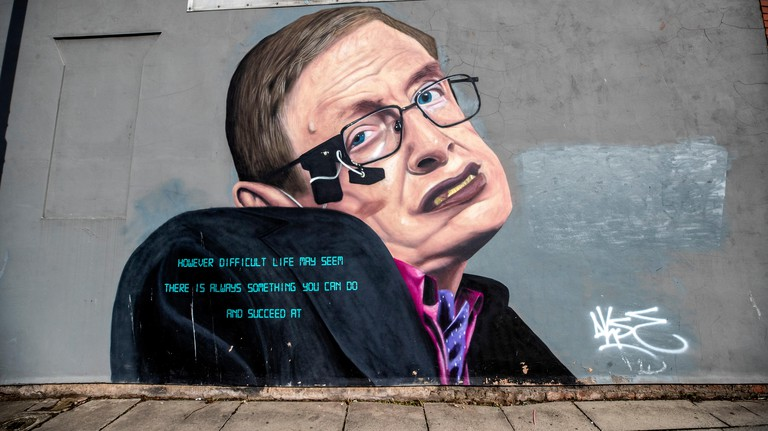 EMBARGOED TO 0001 ON MONDAY SEPTEMBER 23 A mural of physicist Stephen Hawking features on the side of a building in Liverpool. The streets of the city have been transformed with bursts of colour as artists make their mark.