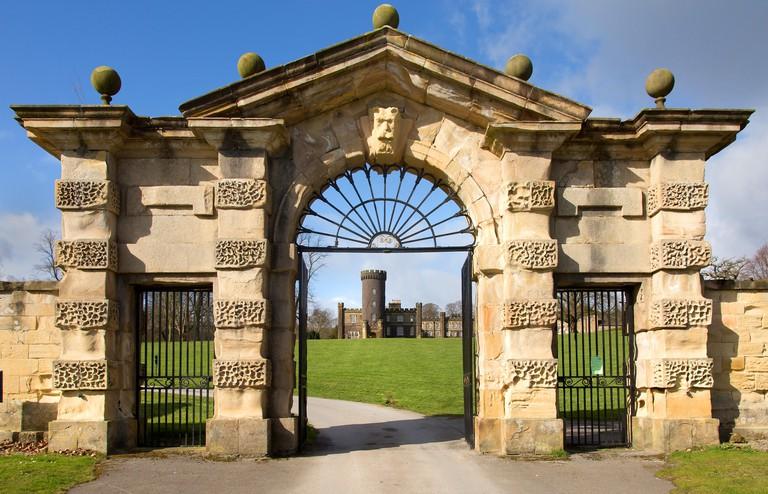 Entrance to Swinton Park Hotel in Masham Yorkshire