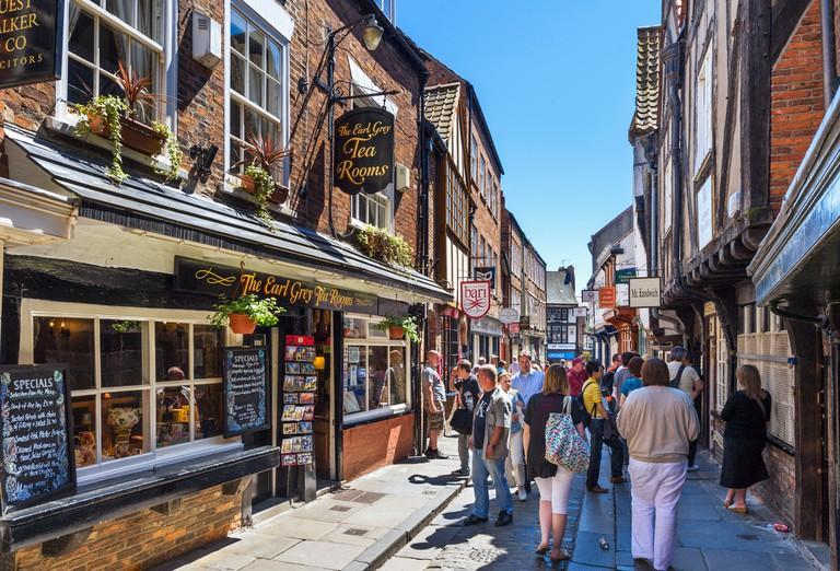 York UK, Shambles. Pubs, shops and cafes on the historic Shambles, York, England, UK