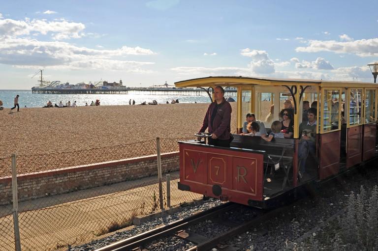 The Volks Railway on Brighton seafront UK