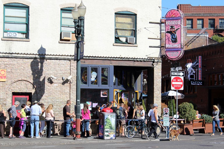 """Voodoo Doughnuts"" store, Portland, Oregon, USA. Image shot 10/2012. Exact date unknown."