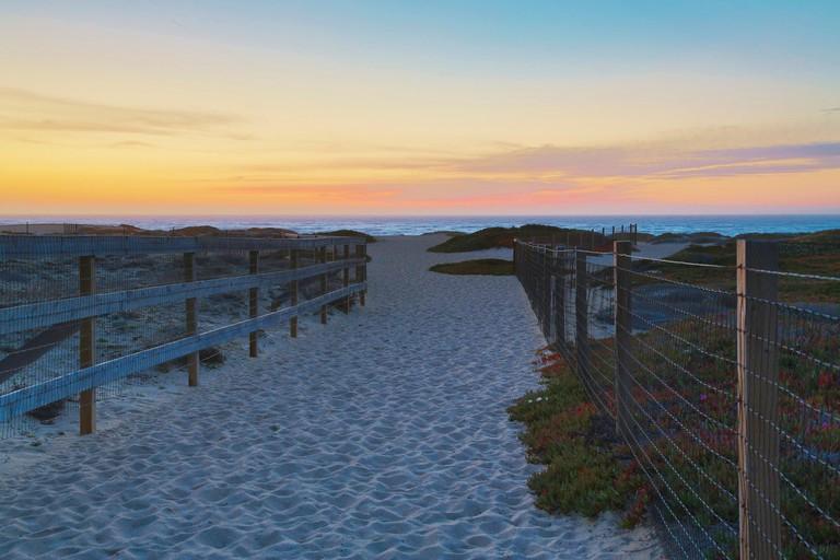 Sunset at Marina State Beach , Pacific Ocean , Southwestern California , California , USA