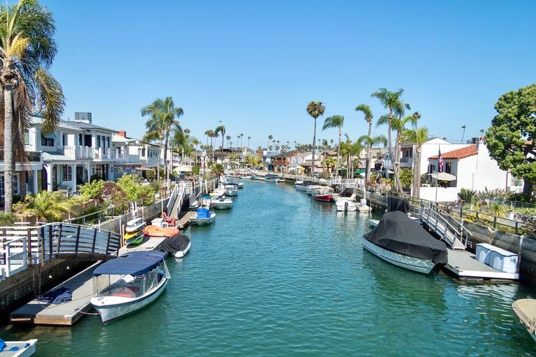 Canals in the Naples Island Neighborhood of Long Beach California
