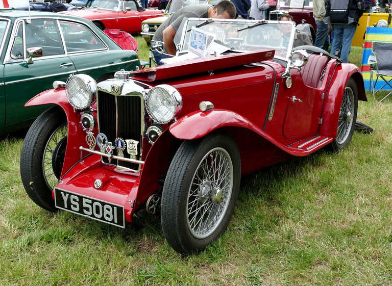 1935 MG tourer, YS5081 in red with the bonnet open and hood down,  at the Chiltern Open Air Museum Classic Car Show