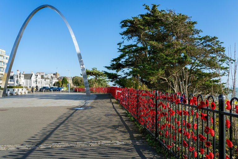 FOLKESTONE, KENT/UK - NOVEMBER 12 : View of the War Memorial square in Folkestone on November 12, 2019. Two unidentified people