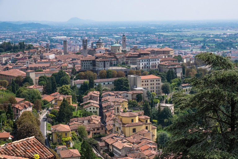 Italy, Bergamo, Lombardy: overview on the upper city from the Castle of San Vigilio