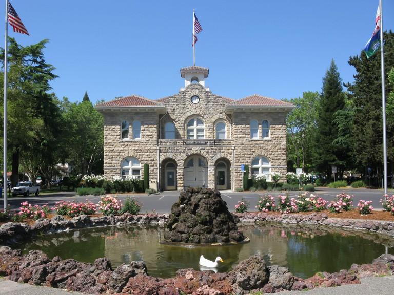 City Hall of Sonoma at the center of Sonoma Plaza, California, USA