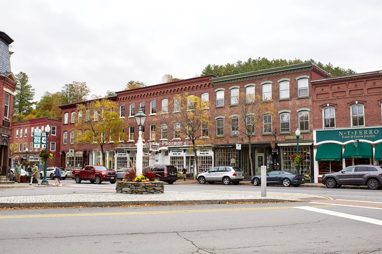 Woodstock, Vermont - September 30th, 2019:  Small shops and restaurants on a cool Fall day in the historic New England town of Woodstock.