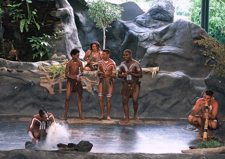 Aborigines are performing in the Tjapukai Dance Theatre in the Tjapukai Aboriginal Cultural Park in Cairns (Queensland), Australia. (undated picture)