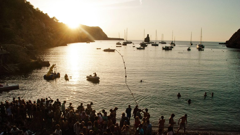 Sunset Cala Benirras Ibiza also referred to as Hippy Beach or Drummers Beach
