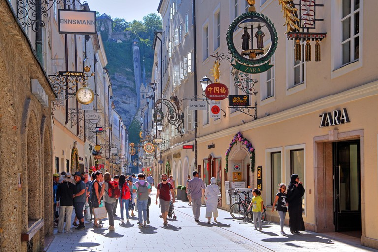 Grain lane with guild character in the Old Town, Salzburg, Salzburg, Austria