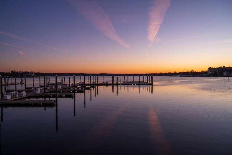 A wide angle photo of the Navasink River in Red Bank New Jersey, at sunrise.