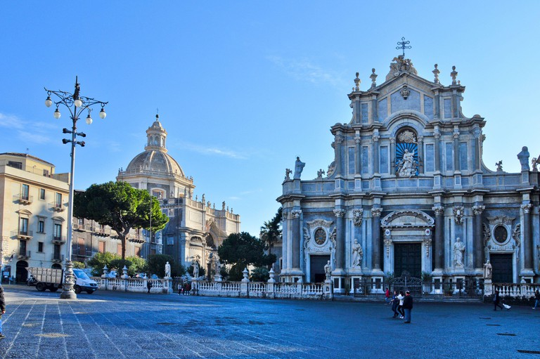 View of a square in Catania, Italy