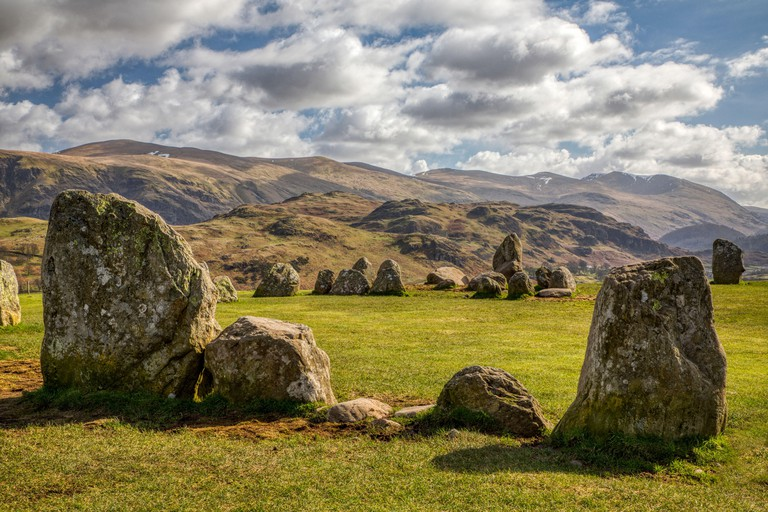 Castlerigg Stone Circle Keswick looking towards High Rigg and Helvellyn