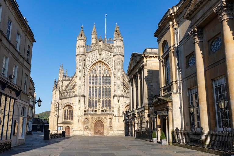 Abbey Churchyard in Bath during the Coronavirus lockdown on 20th April 2020. The square is home to Bath Abbey,  Roman Baths and Pump room, normally a