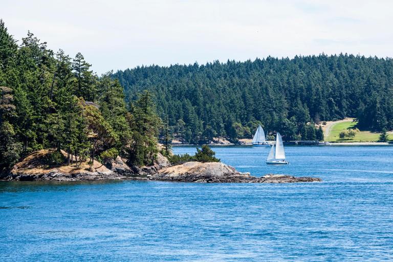 Sailboats in the San Juan Islands, Washington, USA.