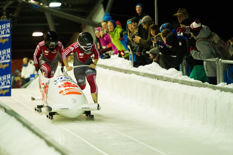 Whistler, BC, Canada: Bobsleigh competing at the Whistler Sliding Centre - Stock Photo