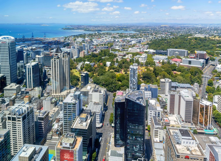 View from the observation deck of the Sky Tower, Auckland, New Zealand