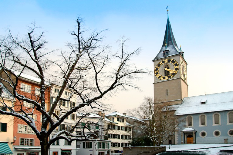 Switzerland Zurich St Peterhofstatt church st Peter in winter. Image shot 2014. Exact date unknown.