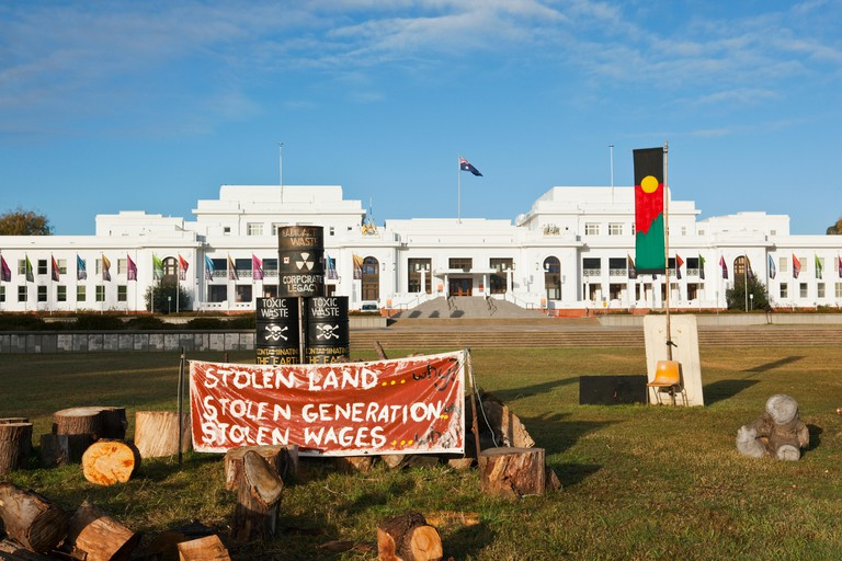 Aboriginal Tent Embassy in front of the Old Parliament House.  Canberra, Australian Capital Territory (ACT), Australia. Image shot 04/2011. Exact date unknown.