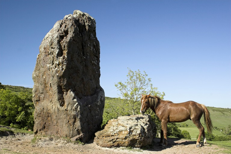 The Longstone north of Mottistone village with a New Forest Pony - Isle of Wight, England.. Image shot 05/2007. Exact date unknown.