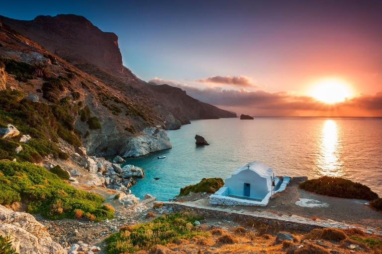 Agia Anna beach, Amorgos island, Amorgos, Nasso, Greece, Cyclades islands, Southern Europe
