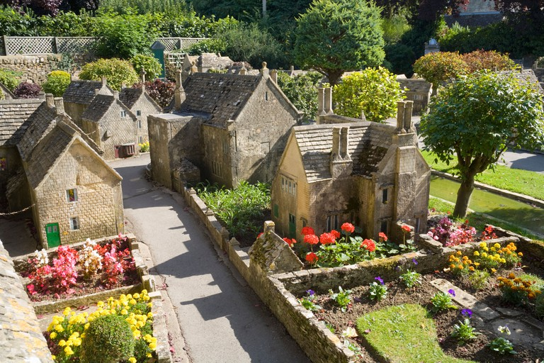 The Model Village behind the Old New Inn in the Cotswold village of Bourton on the Water, Gloucestershire UK