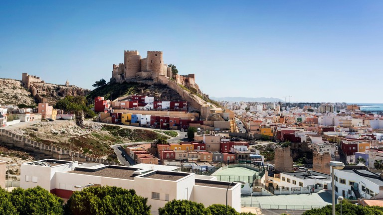 La Alcasaba de Almeria and cityscape, Almeria, Andalusia, Spain