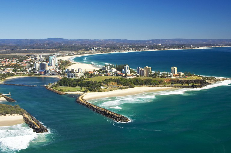 Tweed River and Tweed Heads New South Wales and Coolangatta Queensland Australia aerial