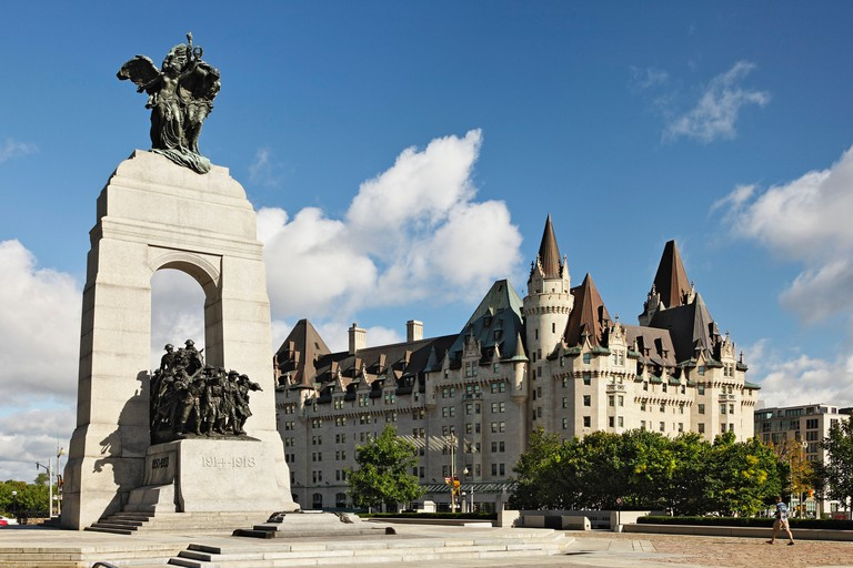 The National War Memorial located on Confederation Square in downtown Ottawa, Ontario Canada.
