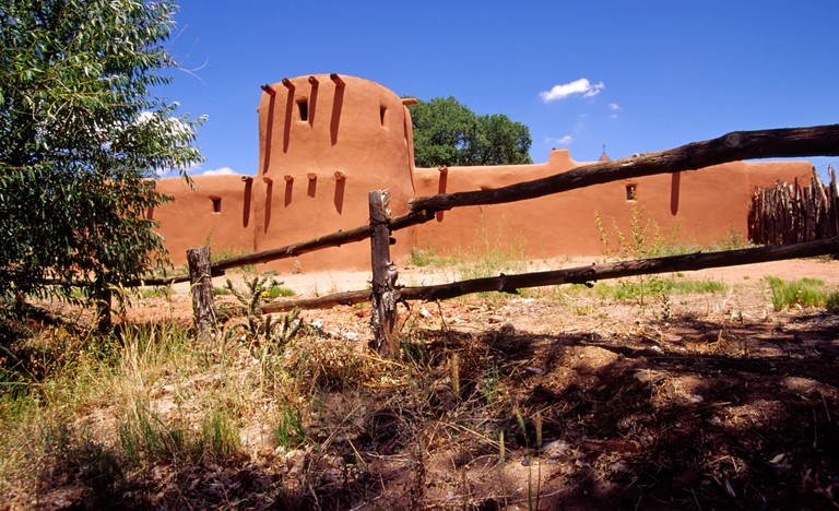 The adobe torreon (tower) at el Rancho de las Golondrinas, a living history museum near Santa Fe, New Mexico.