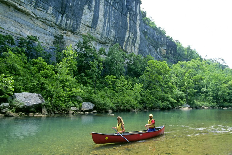 Canoists enjoy a spring day on the Buffalo National River in the Ozarks