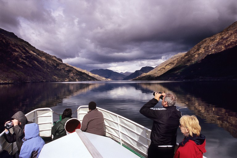 Wildlife viewing boat trip, Loch Shiel, Glenfinnan, Scotland. Image shot 2005. Exact date unknown.