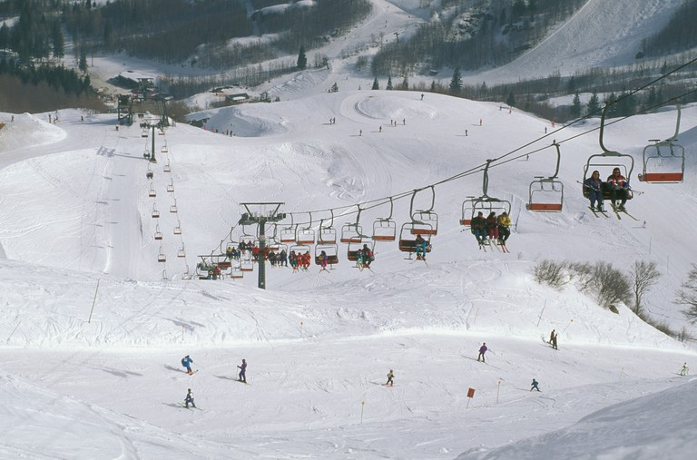 ski slopes in val di luce, abetone, italy