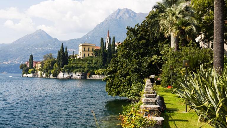 Varenna coastline with view on the Villa Cipressi Hotel from the gardens of Villa Monastero. Lake Como, Lombardy, Italy