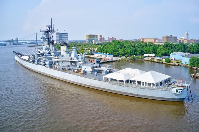 Battleship New Jersey on the Delaware River Camden