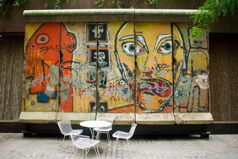 A section of the Berlin Wall on display in a small park on East 53rd Street in New York
