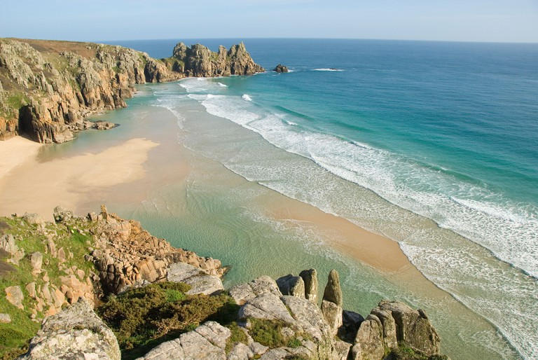 Porthcurno Beach, Pedn Vounder Beach, South Coast, Cornwall, England, United Kingdom, Europe. Image shot 2009. Exact date unknown.