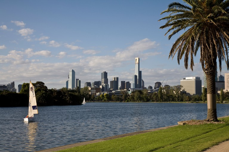 Melbourne skyline, photographed from Albert Park Lake showing the Eureka Tower.