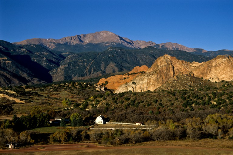 Rock Ledge Ranch Historic Site sits at the entrance to the Garden of the Gods with Pikes Peak, Colorado Springs, Colorado. Image shot 2001. Exact date unknown.
