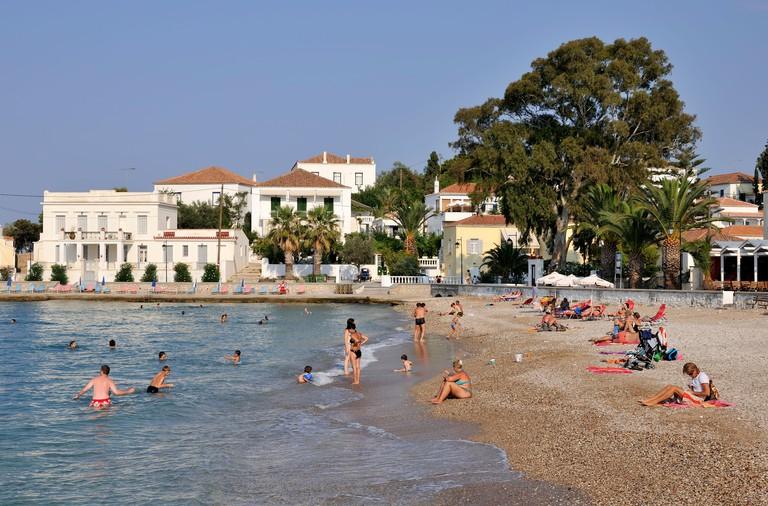 Agios Mamas beach, Spetses town, Spetses island, Greece