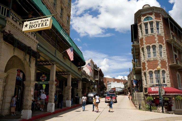 Visitors shopping in historic downtown Eureka Springs, Ark.