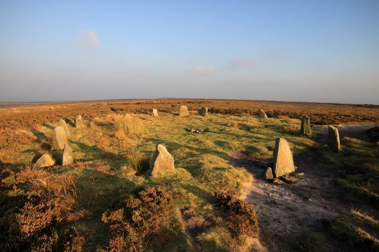 """The """"Twelve Apostles"""" standing stones on Rombold's Moor, Ilkley Moor, West Yorkshire, UK"""