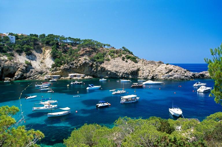 Sailing boats in Cala Vadella, Ibiza, Balearic Islands, Spain