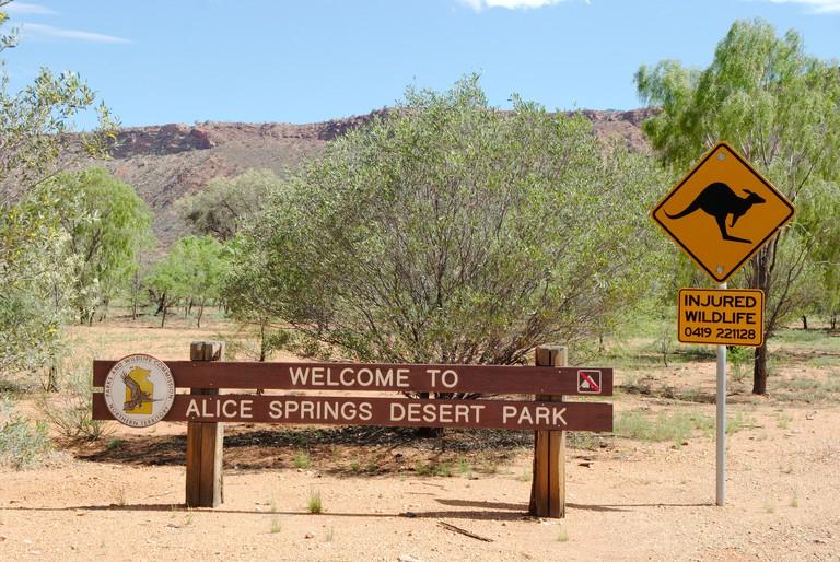 Australia, Alice Springs Desert Park entrance sign